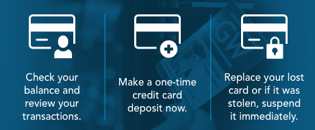 Link to manage gworld card review balance, deposit, replace lost card.